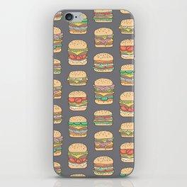 Hamburgers Junk Food Fast food on Dark Grey iPhone Skin