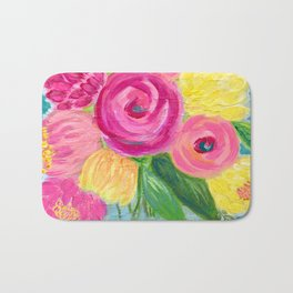 Bouquet of Flowers, Pink and Yellow Flowers, Painting Flowers in Vase Bath Mat