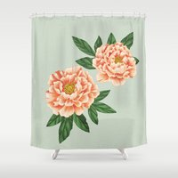 peonies Shower Curtains featuring Peonies by A.Vogler