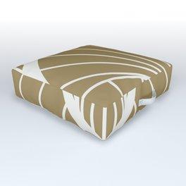 Diamond Series Round Sun Burst White on Gold Outdoor Floor Cushion