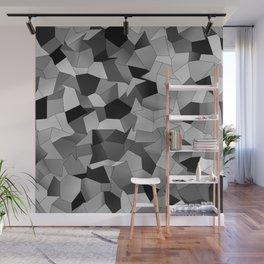 Geometric Shapes Fragments Pattern bw Wall Mural