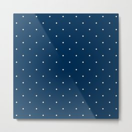 Aligned small beige dots over dark blue Metal Print