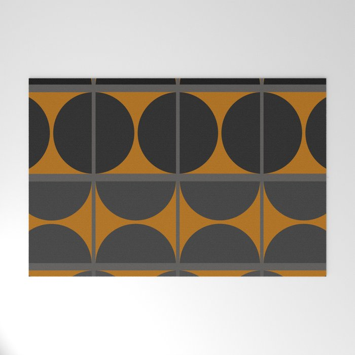 Black and Gray Gradient with Gold Squares and Half Circles Digital Illustration - Artwork Welcome Mat