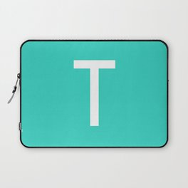 LETTER T (WHITE-TURQUOISE) Laptop Sleeve