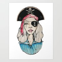 pirate Art Prints featuring Pirate by Bruno Gonçales