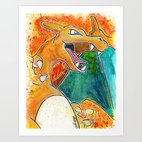 charizard Art Prints featuring Charizard by Luke Jonathon Fielding