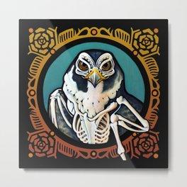 Dia de Los Muertos Masks: Peregrine Falcon Metal Print