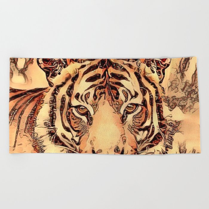 Animal ArtStudio- amazing Tiger Beach Towel
