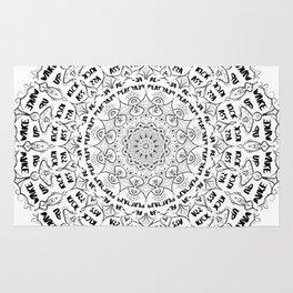 Mandala - Wake Up, Kick A**, Repeat.... Black and White Rug