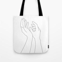 Hands line drawing illustration - Elsa Tote Bag
