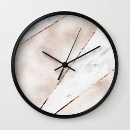 Spliced rose gold marble Wall Clock