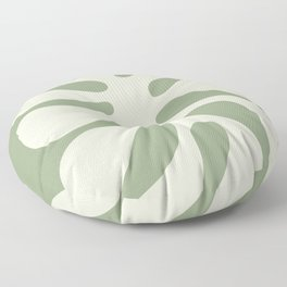 Abstract Monstera Leaf 6. Sage Floor Pillow