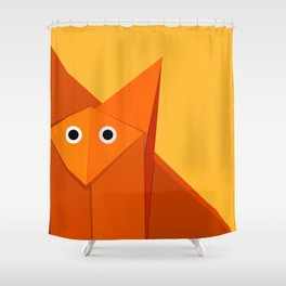 Geometric Cute Origami Fox Portrait Shower Curtain
