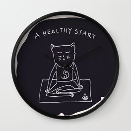 Relax Cat, A Healthy Start, Meditation Wall Clock