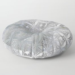 Silver glitter pattern on mother of pearl Floor Pillow