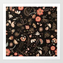Paisley Florals Art Print
