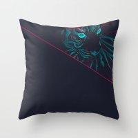 zodiac Throw Pillows featuring Zodiac Tiger by Schwebewesen • Romina Lutz