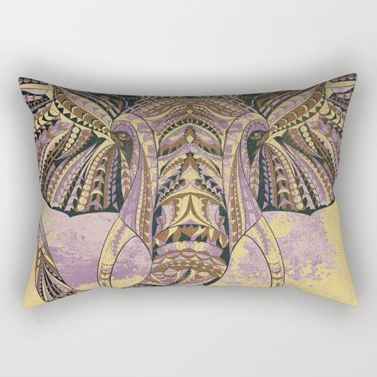 Grunge Ethnic Elephant Rectangular Pillow