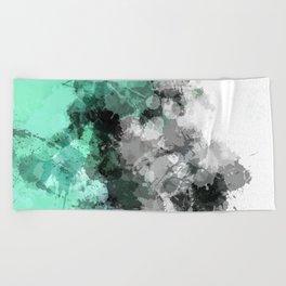 Mint Green Paint Splatter Abstract Beach Towel