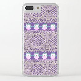 Vintage ivory purple floral lace cute funny owls Clear iPhone Case