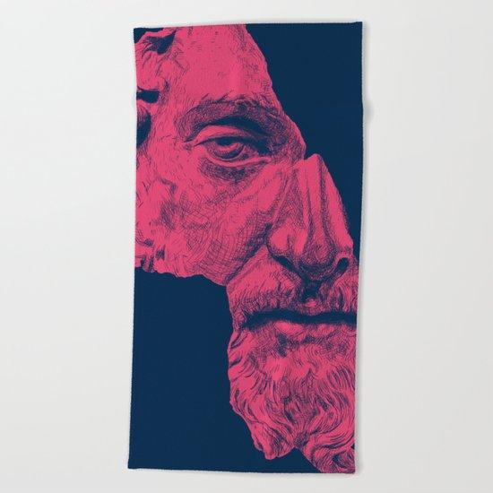 MARCUS AURELIUS ANTONINUS AUGUSTUS / prussian blue / vivid red Beach Towel