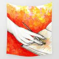 writing Wall Tapestries featuring Inky hands11-Writing  by Anca Chelaru