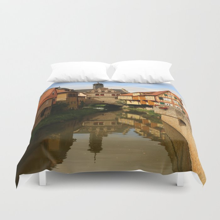 Medieval Village Reflection Duvet Cover