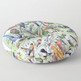 Adolphe Millot - Oiseaux A - French vintage poster Floor Pillow