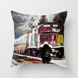 Agawa Canyon Snow Train Throw Pillow