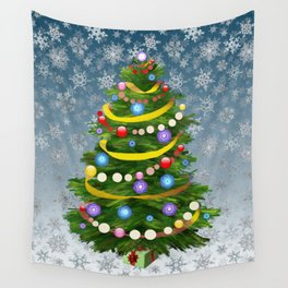 Christmas tree & snow Wall Tapestry