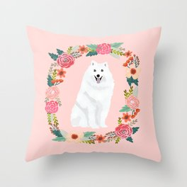 japanese spitz floral wreath dog breed pet portrait pure breed dog lovers Throw Pillow