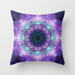 Trippy Purple Deep Space Mandala Throw Pillow