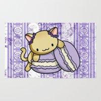 macaron Area & Throw Rugs featuring Macaron Kitty by Fushigi na Ringo