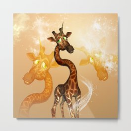 The unicorn Giraffe Metal Print