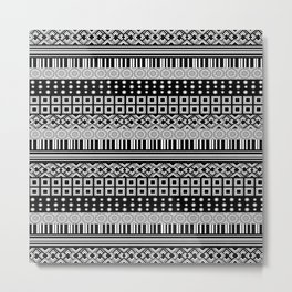 Black and White Shapes Design Metal Print