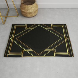 art deco gatsby black and gold lines geometric pattern Rug