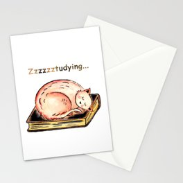Studying Cat Stationery Cards