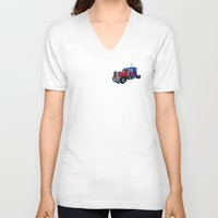 optimus prime V-neck T-shirts featuring Optimus Prime Red by Steve Purnell