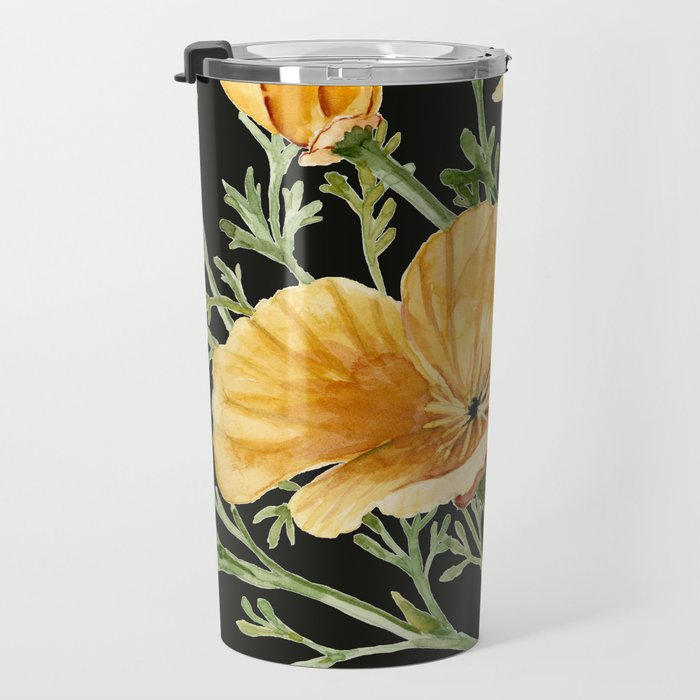 California Poppies on Charcoal Black Travel Mug