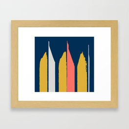 Brushstrokes in Coral, Yellow, and Gray on Blue Framed Art Print