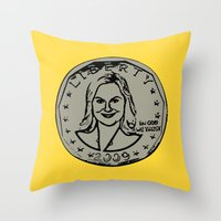 parks and recreation Throw Pillows featuring Leslie Knope  |  Susan B. Anthony Coin  |  Parks and Recreation by Silvio Ledbetter
