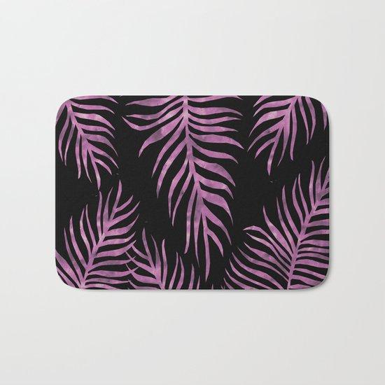 Fern Pattern Purple On Black Background Bath Mat