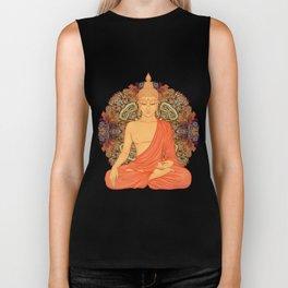 Sitting Buddha over ornate mandala round pattern Biker Tank