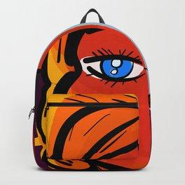 Red Blue Pop Girl Portrait Expressionist Art Backpack