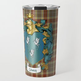 Gibson Coat of Arms and Tartan Travel Mug