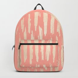 Vertical Dash Tahitian Gold on Coral Pink Stripes Backpack