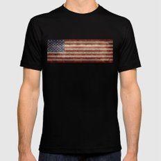 USA Flag Banner - Imagine this Black MEDIUM Mens Fitted Tee