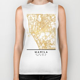 MANILA PHILIPPINES CITY STREET MAP ART Biker Tank