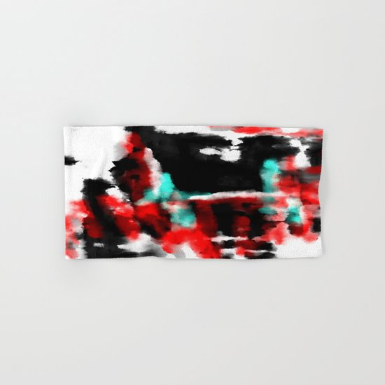 Lukewarm - Abstract, original painting in red, blue, black and white Hand & Bath Towel