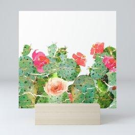 scratched cactus Mini Art Print
